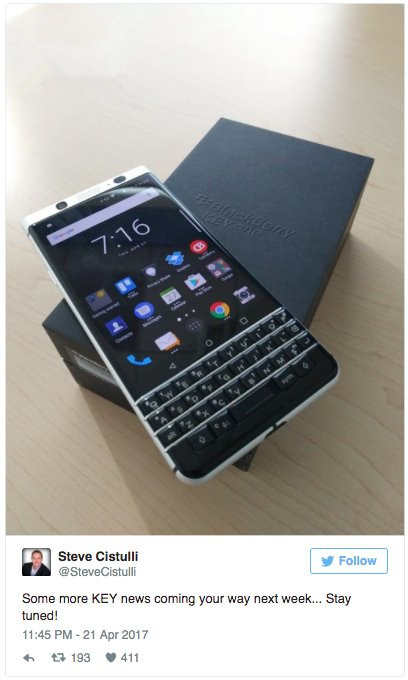 还能情怀多久,黑莓KEYone全键盘手机即将上市