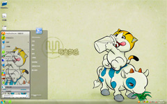 卡通牛win7系统主题