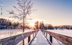 唯美清新的冬日雪景Win7主题